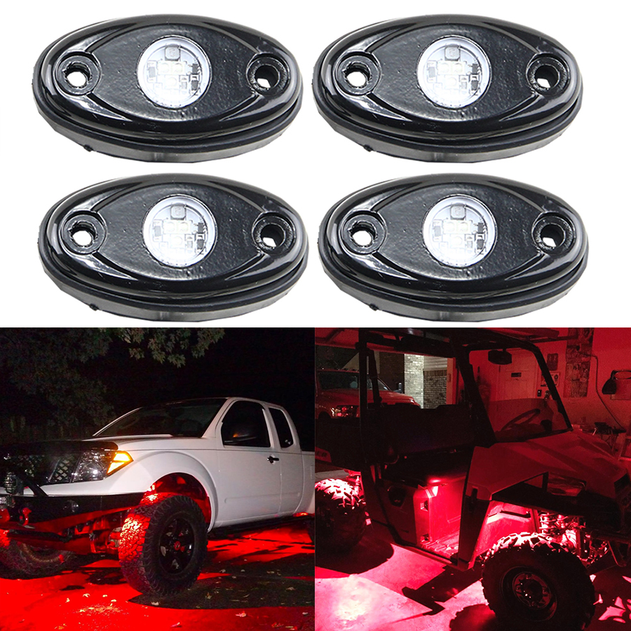 4Pcs Brilliant RED 9W HIgh Power LED Rock Light for JEEP Offroad Truck Boat Under Body Tail Light Source