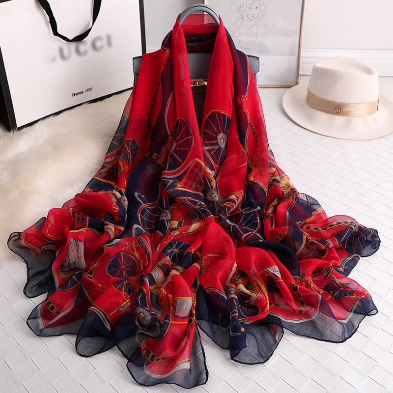 Luxury Brand Print Silk Feeling Scarf Fashion Scarves Lightweight Sunscreen Shawls For Women Summer Travel Beach Accessories