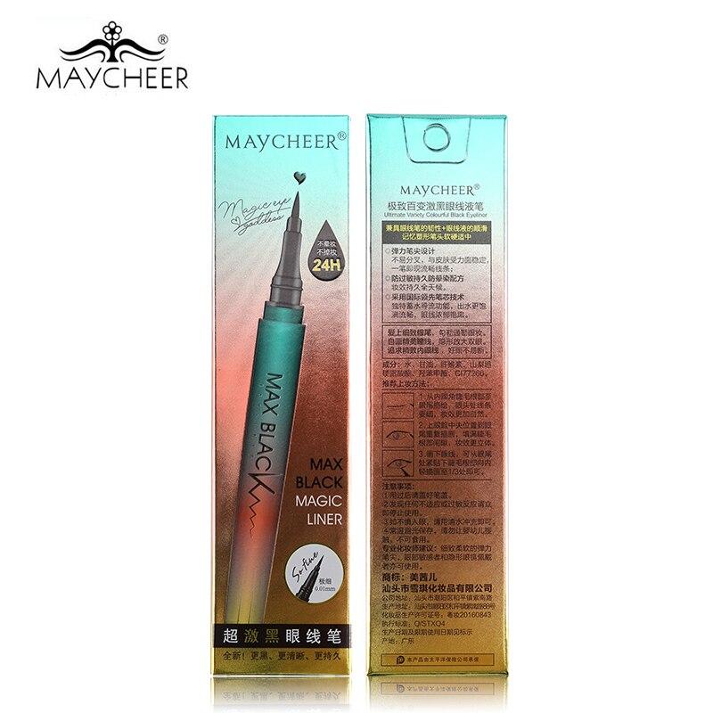 MAYCHEER 24H professionel sort eyeliner blyant vandtæt glat pensel - Makeup - Foto 6