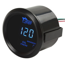 2 52MM 12V 1~120PSI  Durable Digital Blue LED Electronic  Oil Press Pressure PSI Gauge with Oil Pressure Sensor Car Parts