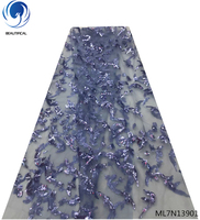 Beautifical shiny sequin laces fabric african tulle lace fabrics with sequins 2019 bling lace fabrics 5yards/lot ML7N139