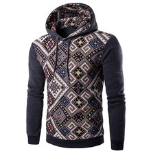 hoodie autumn and winter new men's Urban leisure national wind stitching printing hooded men's hooded men