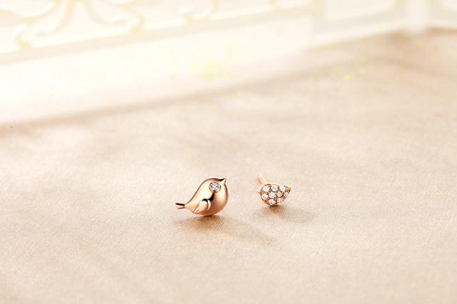18K Rose Gold (Au750)  Real 0.04 CT Diamond Stud Earrings