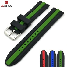 AOOW Silicone Men Sport Watchband Diving Waterproof Replacement Watchbands Strap Bracelets 20mm 22mm 24mm Watch Accessories