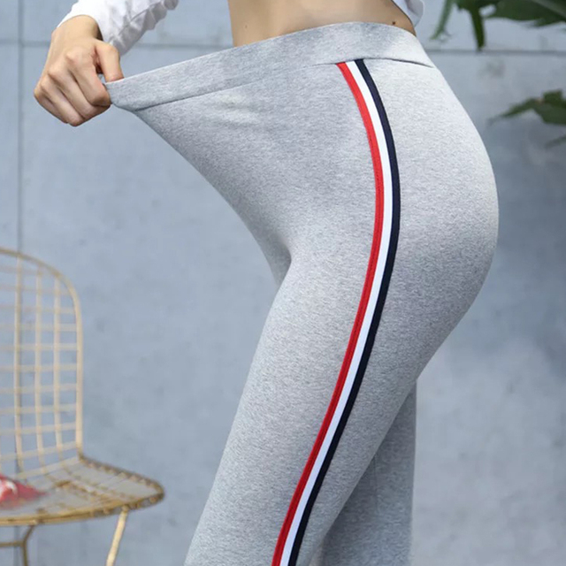 Workout Pants Women's Super Elastic Sportes Pants Black Gray Tummy Control Capris Pants Fashion Stripe On side Plus Size S-5XL