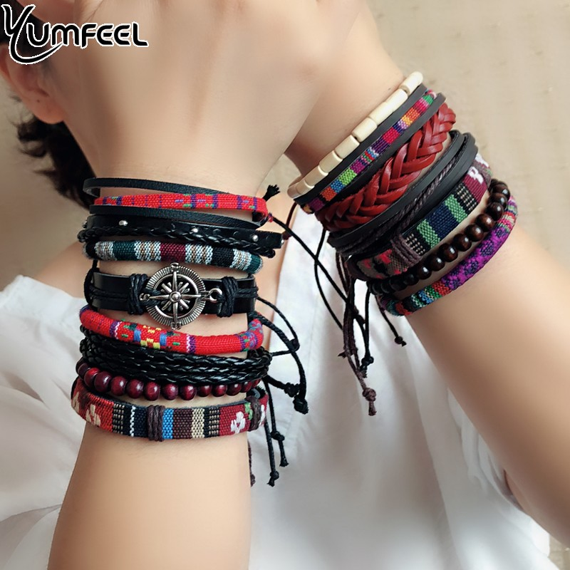 Yumfeel Brand Leather Bracelets Handmade Jewelry Bohemian Style Beaded Multi Strand Bracelet Set Ribbon Bracelet Women Gifts