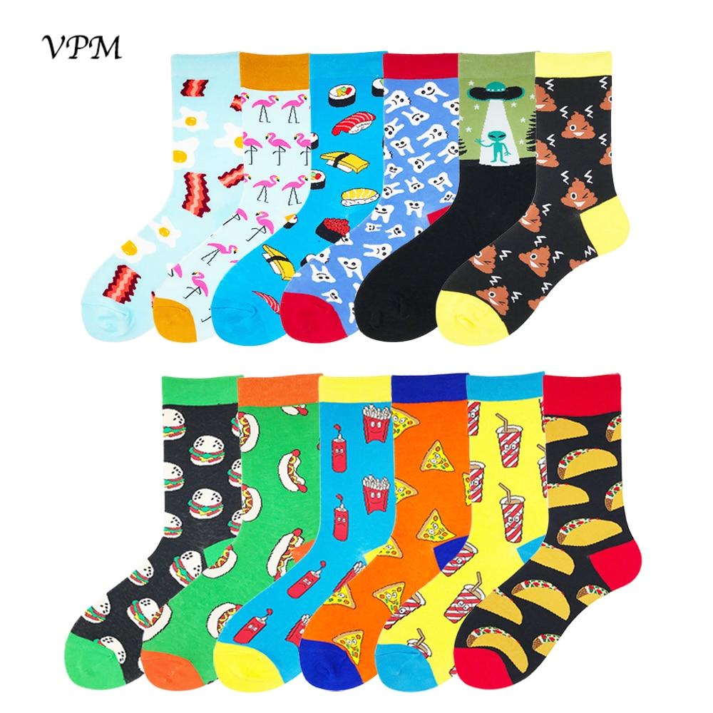 Носки VPM женские и мужские большого размера, 85% хлопок, красочные Смешные носки в стиле Харадзюку с яйцами, фламинго, инопланетянинами, суши, ...