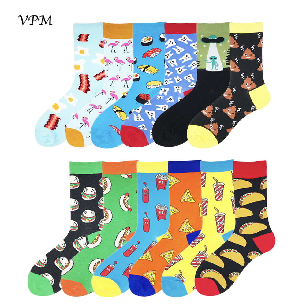 VPM Two Big Size Women&Men's Socks 85% Cotton Colorful Funny Harajuku Egg Flamingos Alien Sushi Tooth Poo Hamburger Sock