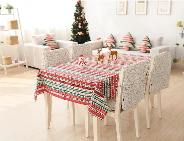 Christmas Table decorations Linen Cotton Table Cloth Table Cover Tablecloth Merry Christmas Tableware Home Textile & Christmas Table decorations Linen Cotton Table Cloth Table Cover ...