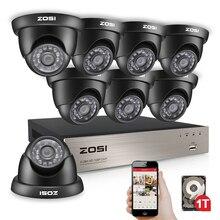 ZOSI 1080N HDMI DVR 1280TVL 720 P HD Открытый безопасности дома Камера системы 8CH CCTV видеонаблюдения DVR Kit 1 ТБ Камера комплект