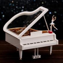 Rotation Piano Cranked Music Boxes Plastic Hand Crank Movement Ballet Dancing Carousel Box caixa musica Gift  Decoration