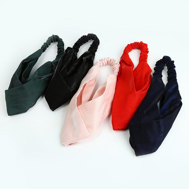 Korean Silk Headband Cross Knot Beauty Towel Turban Women Elastic Head Bands Fashion Style