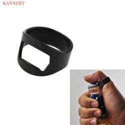 KANNERT 1Pcs Multi-função Anel-Forma Abridor de Garrafa de Cerveja Abridor de Aço Inoxidável Preto 22 Diâmetro mm