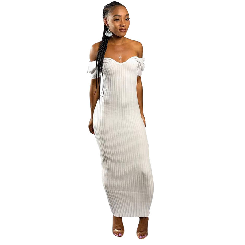 3 Colors Solid Dress Women Office Party Club Long Dress Short Sleeves V-Neck Bodycon Vestidos Good Elastic Casual Knitted Cloth