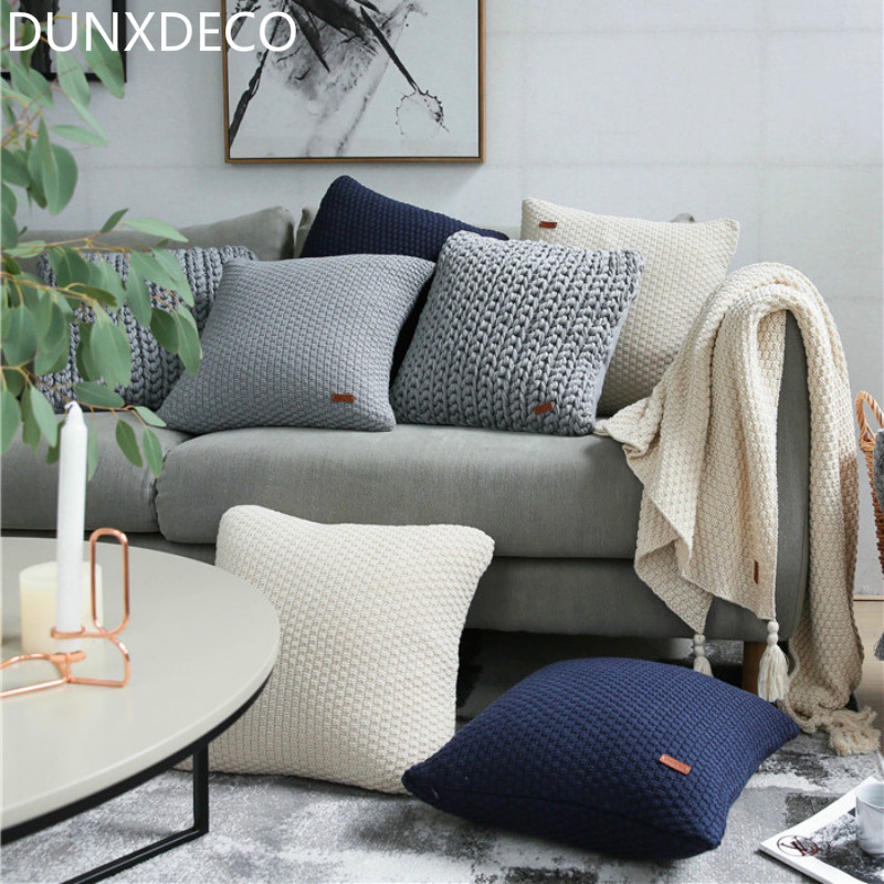 Modern Knitted Pillow : DUNXDECO 1PC Nordic European Modern Cotton Knitted Cushion Cover Grey Sofa Chair Decorative ...