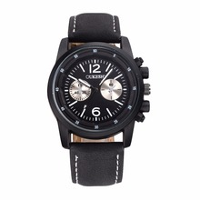 OUKESHI Brand New Fashion Watch Men Vintage Style Leather Strap Out-door Sports Style Casual Quartz Wristwatch relogio masculino