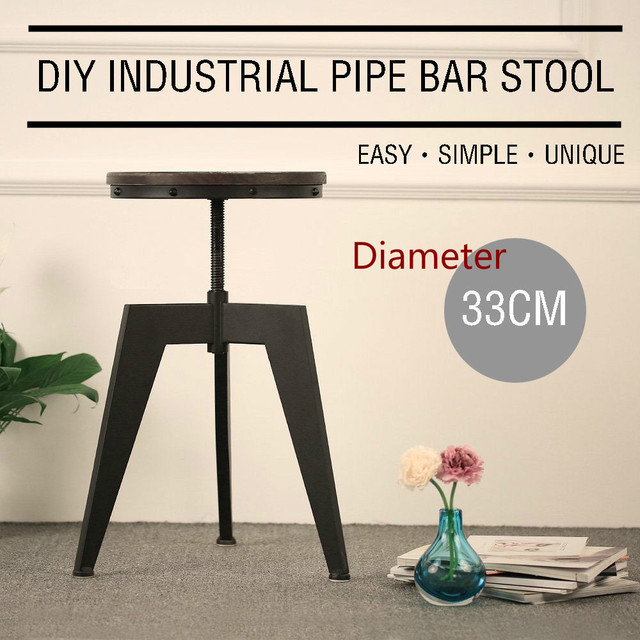 Industrial Style Bar Stool Natural Pine Wood Top Swivel Kitchen Dining  Sitting Chair Height Adjustable Rotate