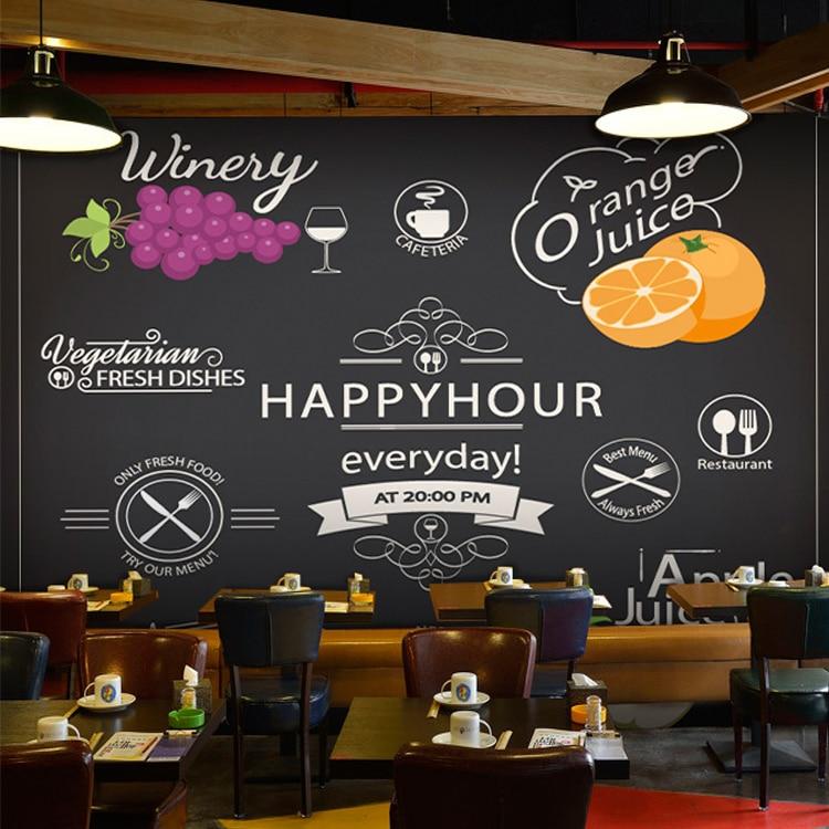 Custom 3d mural 3D Korean blackboard graffiti wallpaper Cafe leisure fried chicken restaurant