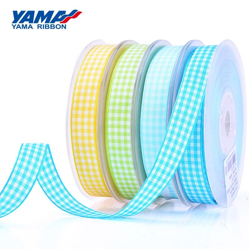 YAMA 9mm 16mm 25mm 38mm Polyester Scottish Tartan Plaid Ribbon 100 Yards/lot Gift Wrapping Wedding Sewing Crafts Packing Woven