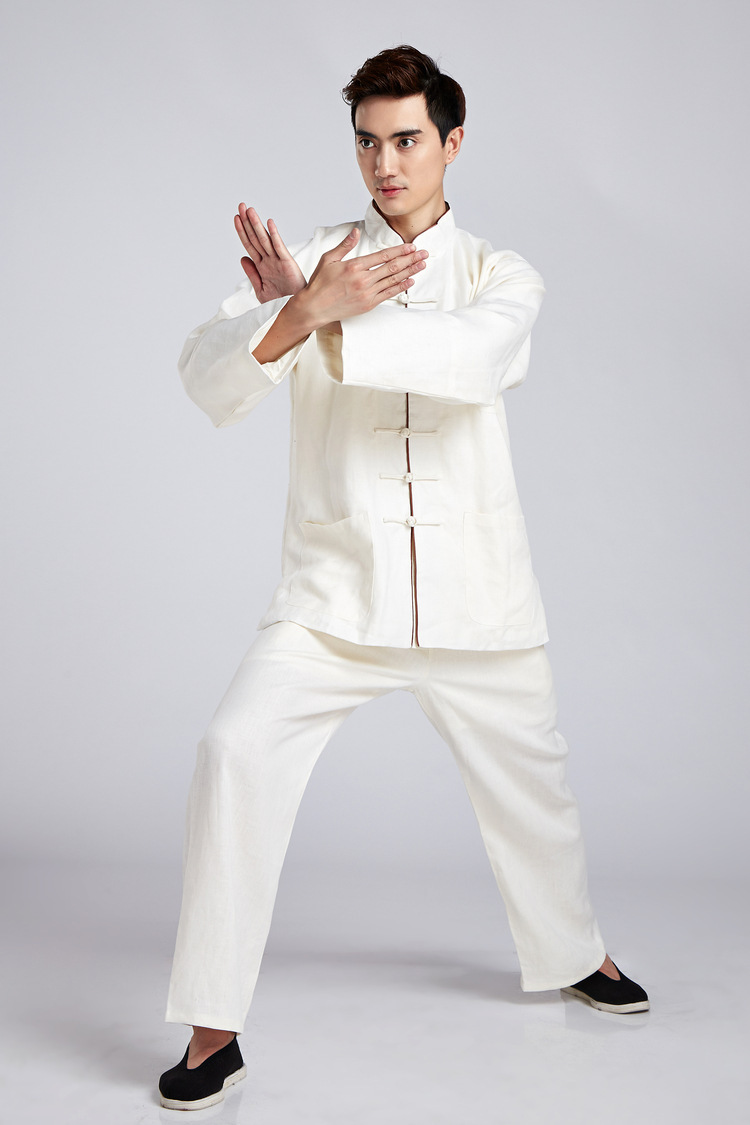 Traditional Beige Chinese Men Kung fu Uniform Linen Suit Long Sleeve Clothing Size M To XXXL