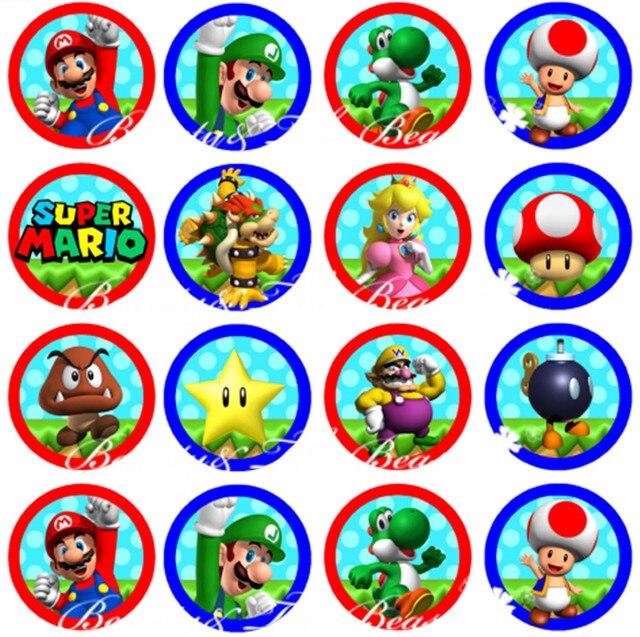 Super Mario Bros Stickers Cupcake Toppers Verjaardagspartij