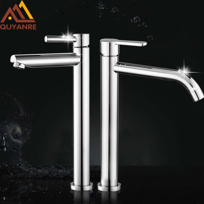 Quyanre Chrome Tall Brass Basin Sink Faucet Water Kitchen Mixer Tap H/C Water Bathroom Sink Faucet Torneira Torneira Banheiro bathroom products soild brass gold finish sink faucet single lever black waterfall tap tall water mixer torneira banheiro