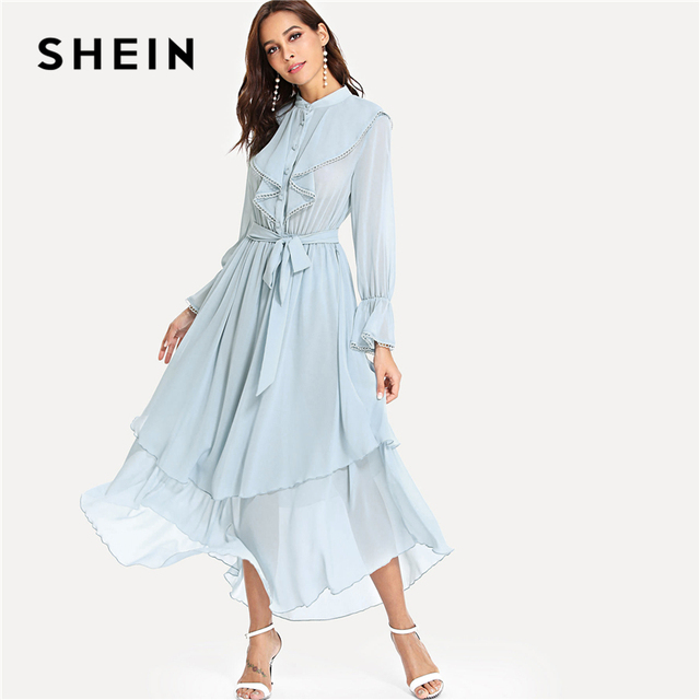 d845fade06 SHEIN Sky Blue Elegant Plain Stand Collar Flounce Long Sleeve Ruffle Button  Belted Maxi Dress Summer