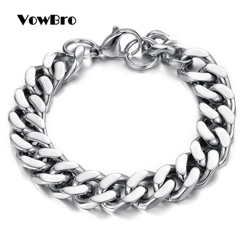VowBro hommes Bracelet chaîne poli acier inoxydable argent chaînes Bracelet pour hommes femmes cubain lien 3/4/6/7mm