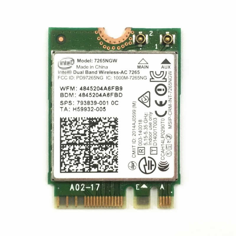 Intel 7265NGW Dual Band 2x2 Wireless AC + Bluetooth 4.0 M2 La - Equipo de red