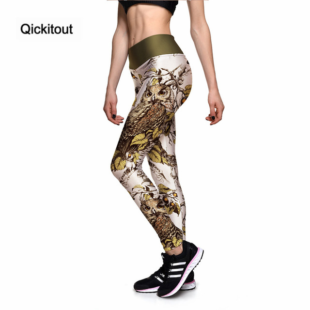 5039a533c45ab Qickitout Leggings New 2017 Fashion Women s Wooden Animal Owl 3D Print PANTS  Women High Waist Pants Trousers Fitness Top Sales