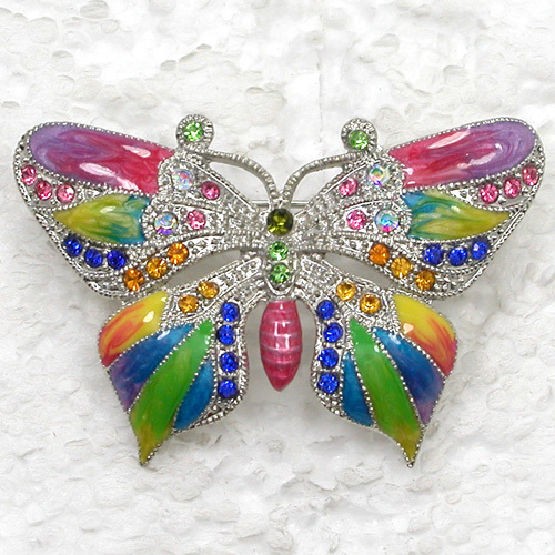 12pcs lot Wholesale Fashion Brooch Rhinestone Enamel Butterfly Pin brooches jewelry gift C101582