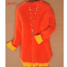 LHZSYY Winter New High end Mink Cashmere Hedging Sweaters Thick coat long sections double coat Female