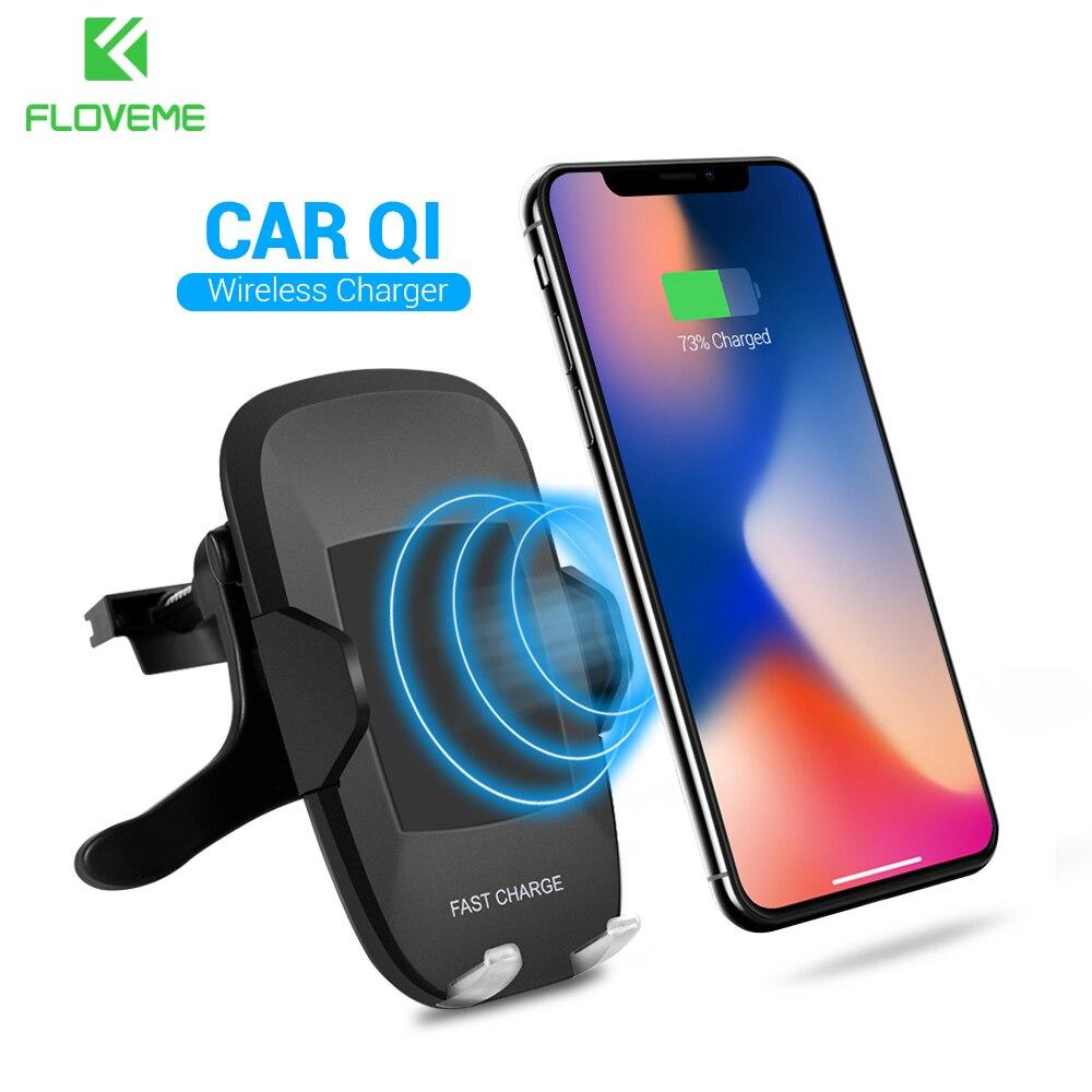 FLOVEME 5 V/2A Caricabatteria Da Qi Wireless Car, 360 Gradi di Rotazione Supporto da Auto per Samsung Galaxy S8 S7 Bordo NOTA 8 per iPhone X 8 Plus