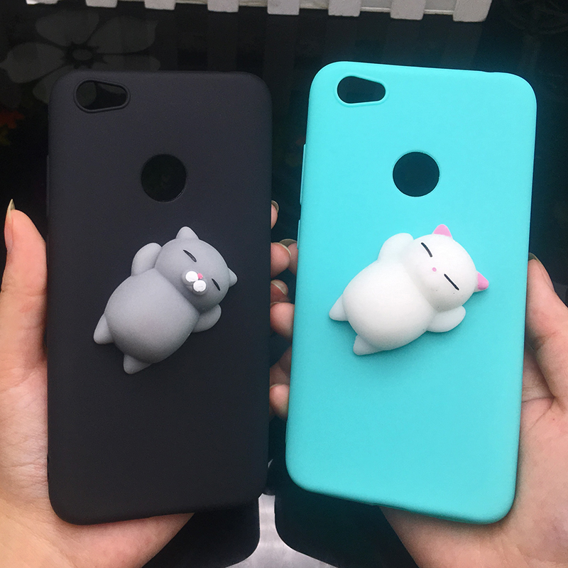 3D Squishy Cat Silicon TPU Soft Case For Xiaomi Redmi 5 Plus 4X 4A 3S Note 5 Pro Candy Color Back Cover Redmi 5A Prime 3 4 Cases