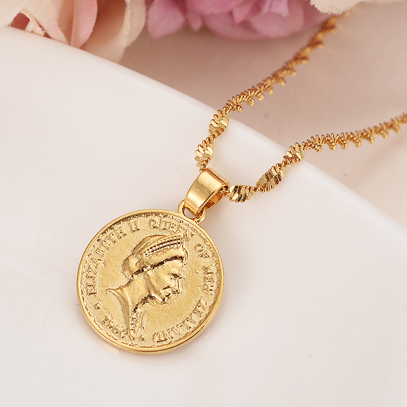 Gold New Zealand One Dollar Elizabeth Ii Souvenir Coin Pendant Earrings Women Party Bird Wedding Jewelry S Charm Gifts In Bridal Sets From