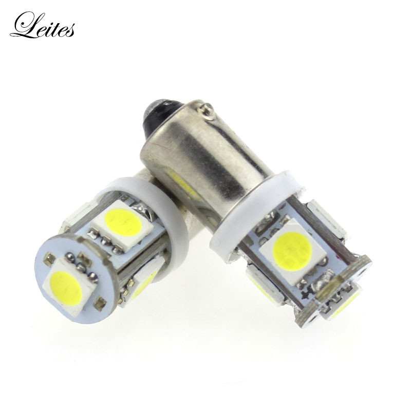 Leites 2PCS BA9S 5050 5SMD 1.2W 6500K 70LM 12V Instrument Lamp Automotive LED License Plate Lights 12v bayonet led bulbs.04
