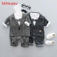 Mihkalev 2018 Spring Autumn Baby Boy Clothes Sets Gentleman Suit Tops Jacket Pants 3Piece Kids Boys