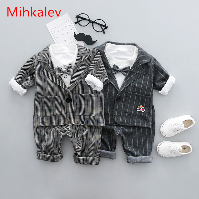 Mihkalev 2018 spring autumn baby boy clothes sets gentleman suit tops+jacket+pants 3Piece kids boys clothing children tracksuit 1 5yrsnew baby boy girls clothes spring kids clothes gentleman toddler suit 2pcs boys clothing set boy clothes children clothing