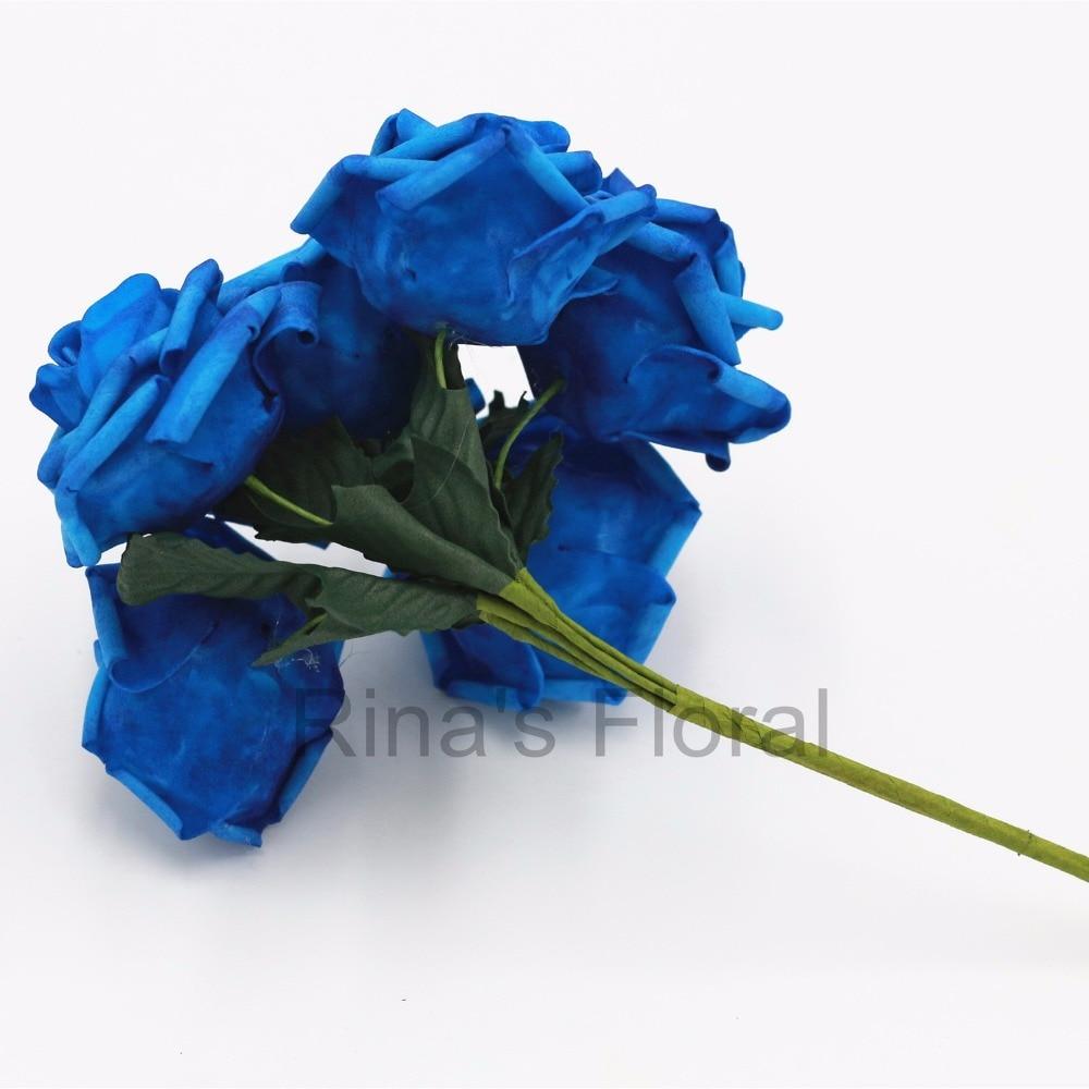 72 Royal Blue Flowers Fake Roses Bulk Flowers For Wedding Decoration ...