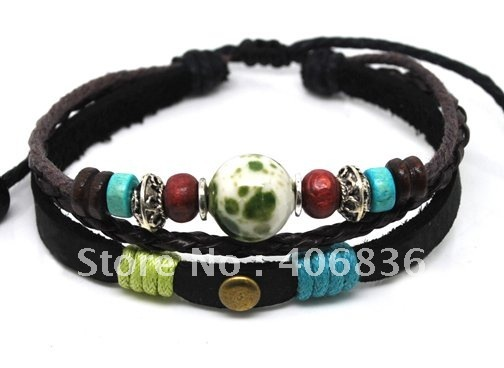 free shipping china handmade genuine leather bracelet fashion jewellery bracelets and bangles hot sell ornaments  A0335