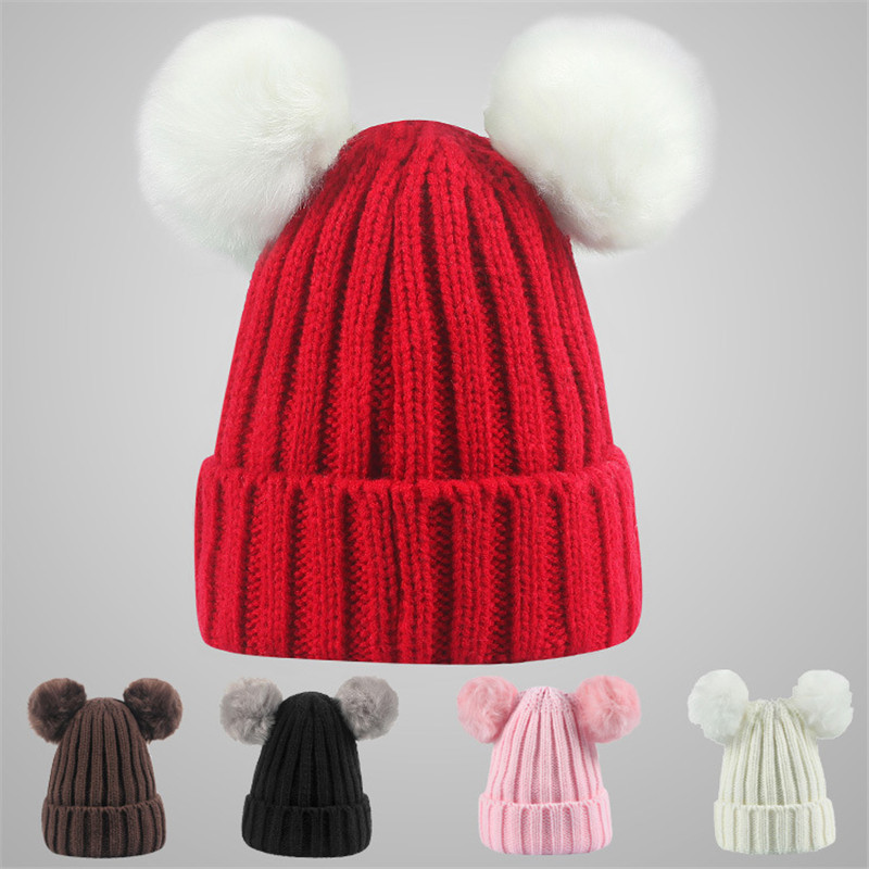 2017 New Pattern Heat Pin Double Hair Ball Baby Wool Hat Winter Children Spelling Color Knitting Hats sirdar snuggly double knitting baby cardigan pattern