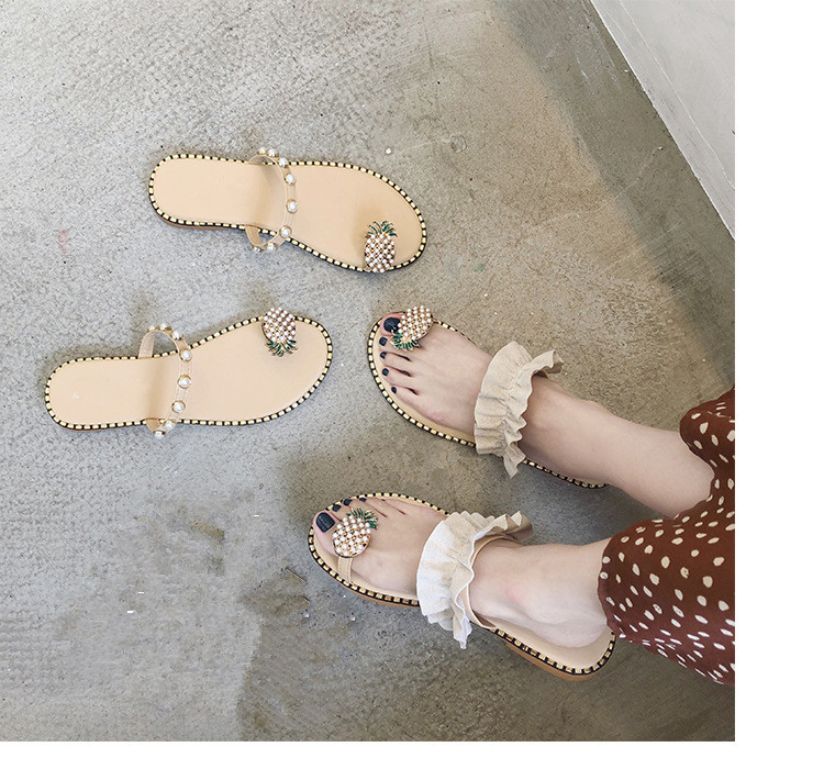 Women Sandals Flip Flops Slippers Flats Shoes String Bead Summer Fashion Wedges Woman Slides Pineapple Lady Casual Female