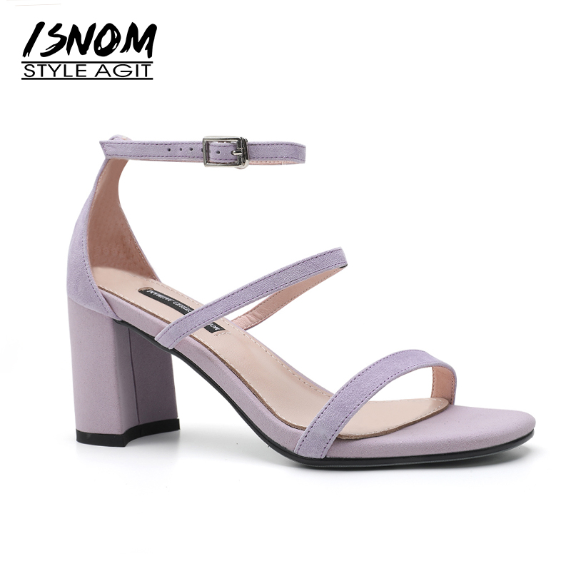 ISNOM Summer Sandals Women Open Toe Footwear Kid Suede Ankle Strap Ladies Sandals Shoes Fashion High Heels Office Female Shoes isnom summer high heels sandals women kid suede square heels buckle open toe back strap footwear office 2018 brand ladies shoes
