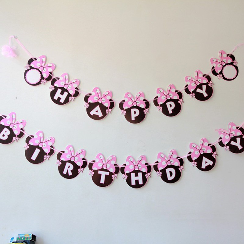 Girls Minnie Mouse Party Bunting 1 Banner Flags Per Bunting Length 2.5m Party Favors kids boy Mickey Happy Birthday Decoration ...