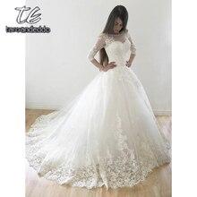 Свадебные платья с рукавами «четверть», аппликация, тюль, иллюзия, длина до пола, шлейф, Свадебное бальное платье, Vestido De Noiva