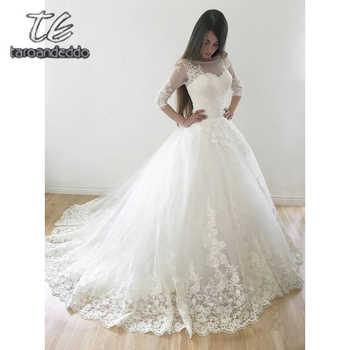 Scoop Wedding Dresses Quarter Sleeves Applique Tulle Illusion Floor Length Sweep Train Bridal Ball Gown Dress Vestido De Noiva - DISCOUNT ITEM  11% OFF All Category