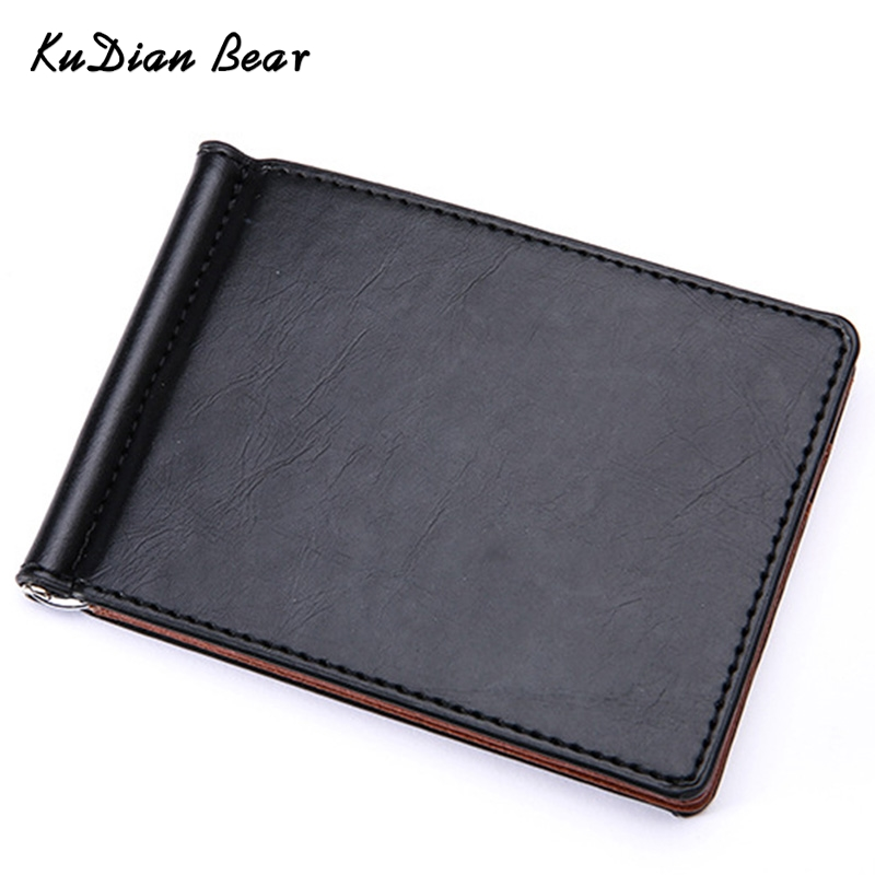 KUDIAN BEAR Leather Men Money Clip Wallet Mental Clip Rfid Slim Clamps Minimalist Purse carteras-BID196 PM49