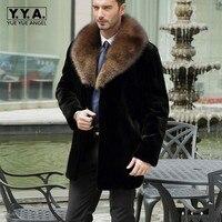 2018 invierno Faux mapache Pieles de animales collar moda hombres abrigo casual hombre de negocios Pieles de animales capa caliente Outwear casaco masculino tamaño s-6xl