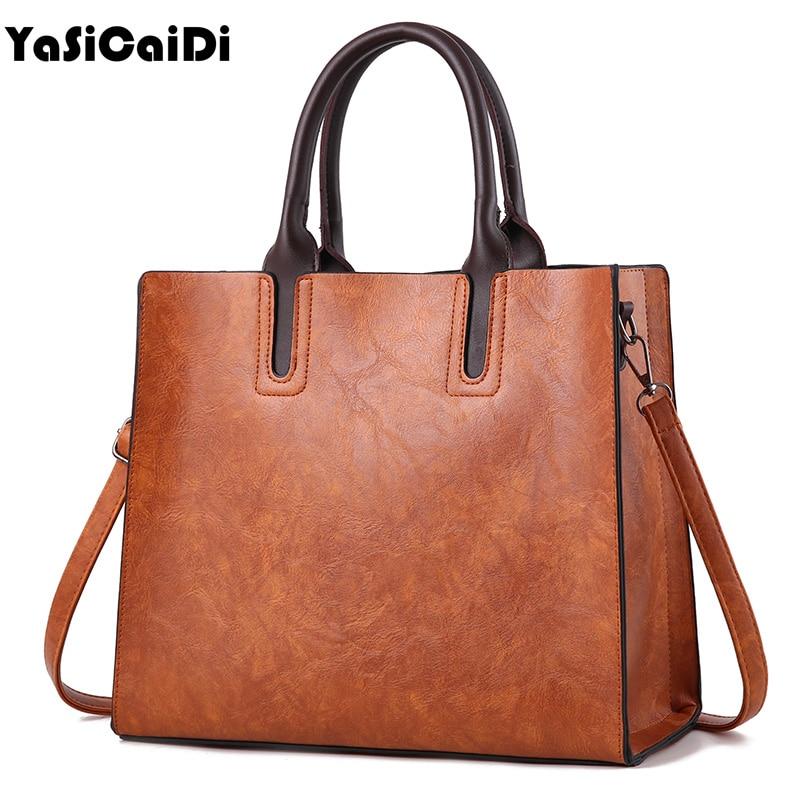 цены на YASICAIDI Oil Wax PU Leather Women Shoulder Bags Large Capacity Messenger Bags Ladies Shopping Casual Tote Bags Bolsas Feminina в интернет-магазинах