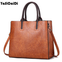YASICAIDI Oil Wax PU Leather Women Shoulder Bags Large Capacity Messenger Bags Ladies Shopping Casual Tote